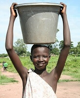 child with bucket